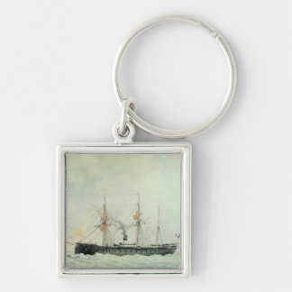 The French Battleship, 'La Gloire', 1880 Silver-Colored Square Keychain