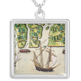 The French Discover Six More Rivers Square Pendant Necklace