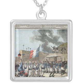 The French Flag Entering Abomey Silver Plated Necklace