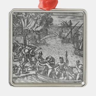 The French Fleet Plundering Metal Ornament