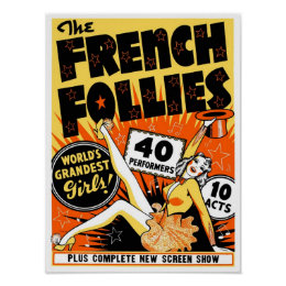 The French Follies, 1930. Vintage Pinup Poster