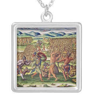 The French Help the Indians in Battle Silver Plated Necklace