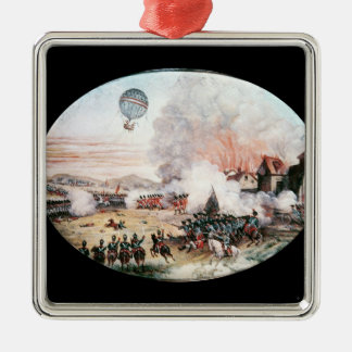 The French Observation Balloon, Square Metal Christmas Ornament