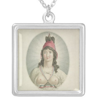 The French Republican, engraved by A. Clement Square Pendant Necklace