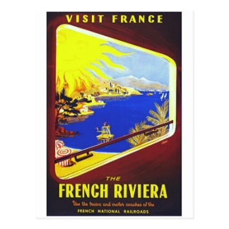 The French Riviera VIntage Travel Poster Postcard