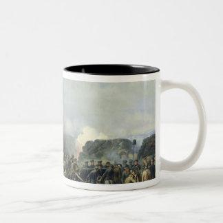 The French-Russian battle at Malakhov Kurgan Two-Tone Coffee Mug