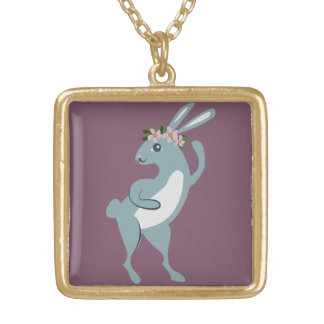 The Friendly Forest Dancing Bunny Gold Plated Necklace