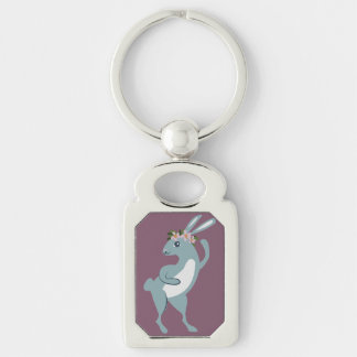 The Friendly Forest Dancing Bunny Silver-Colored Rectangular Metal Keychain