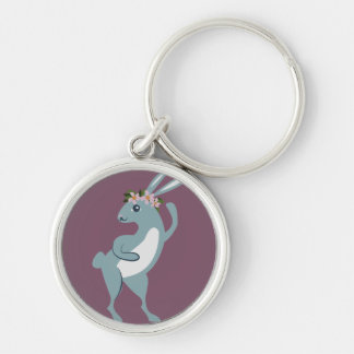 The Friendly Forest Dancing Bunny Silver-Colored Round Keychain