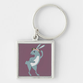 The Friendly Forest Dancing Bunny Silver-Colored Square Keychain