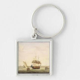 The Frigate 'Surprise' at Anchor off Great Yarmout Silver-Colored Square Keychain