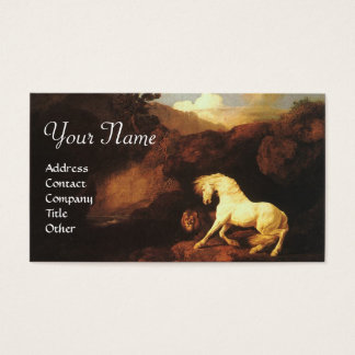 The Frightened White Horse By A Lion Monogram Business Card