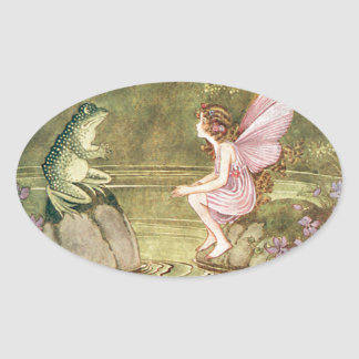 The Frog and the Fairy Oval Sticker