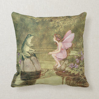 The Frog and the Fairy Throw Pillow