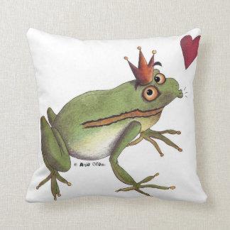 The frog prince throw pillow