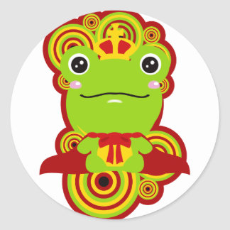 The frog which did not fit a prince round sticker