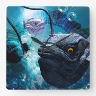 The frogfish with bubbles square wall clock