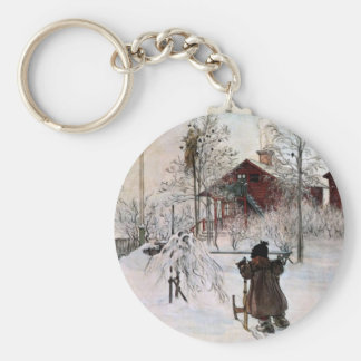 The Front Yard and Wash House in the Snow Key Chain