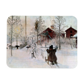 The Front Yard and Wash House in the Snow Rectangular Magnets