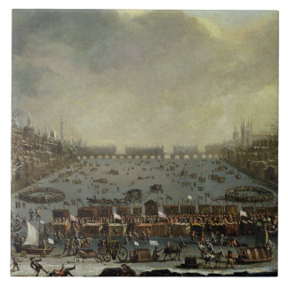The Frost Fair of the winter of 1683-4 on the Tham Large Square Tile