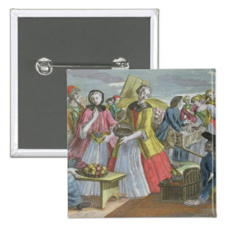 The Fruit Market (coloured engraving) 2 Inch Square Button