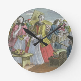 The Fruit Market (coloured engraving) Round Clock