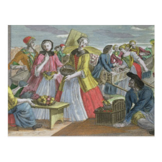 The Fruit Market (coloured engraving) Postcard