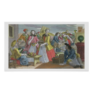 The Fruit Market (coloured engraving) Poster