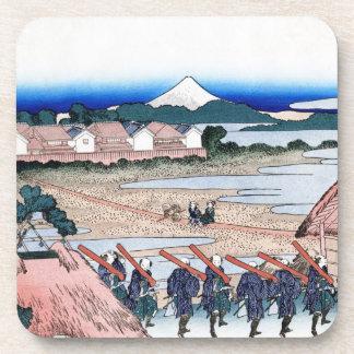 The Fuji seen from gay quarter in Senju Hokusai Drink Coaster