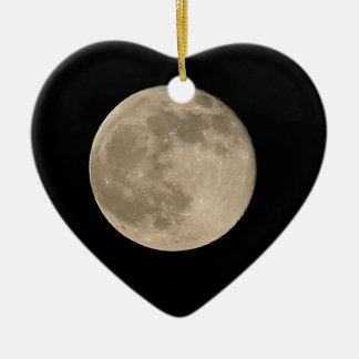 THE FULL MOON Double-Sided HEART CERAMIC CHRISTMAS ORNAMENT