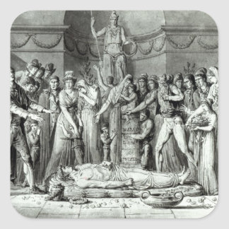 The Funeral of Jean Paul Marat Square Stickers