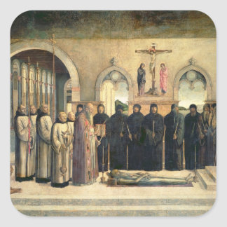 The Funeral of St Jerome c 1470-1472 oil on can Square Stickers
