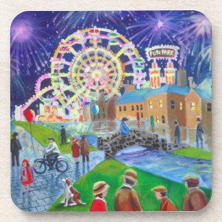 the FunFair oil painting Gordon Bruce art Beverage Coaster