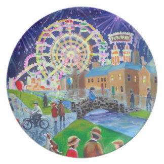 the FunFair oil painting Gordon Bruce art Party Plates