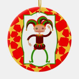 The funny jester ceramic ornament