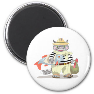 "The funny magnet design with ""Cat shopping"" illust"