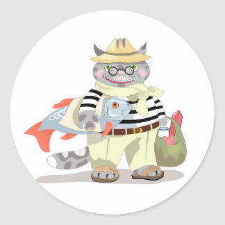 """The funny sticker design with """"Cat shopping"""" illus"""