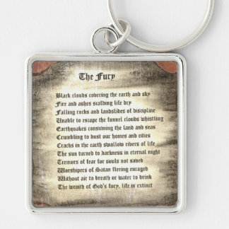 The Fury Silver-Colored Square Keychain