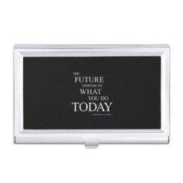 Motivational quotes business card holders cases zazzle the future inspiring motivational quote case for business cards colourmoves