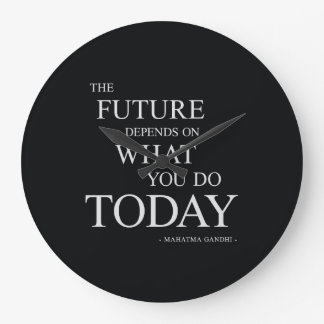 The Future Inspiring Motivational Quote Large Clock