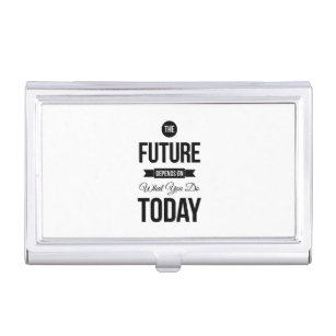 Trendy quotes business card holders cases zazzle the future inspiring quote white business card holder reheart Choice Image