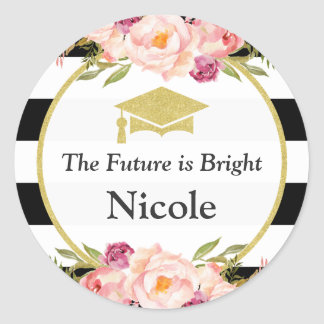 The Future is Bright | Floral Glam Graduate Favor Classic Round Sticker