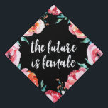 """The Future is Female   Graduation Cap Topper<br><div class=""""desc"""">Celebrate your graduation in style with our The Future is Female graduation cap topper. The custom graduation cap topper features a stunning pink floral border with &quot;The Future is Female&quot; in a trendy script font. Personalize the floral graduation cap topper by adding your name, class year, or other custom text....</div>"""