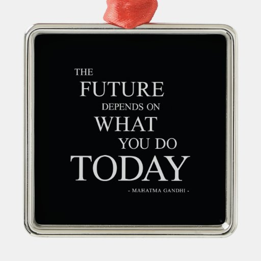 The Future Motivational Words Square Metal Christmas Ornament