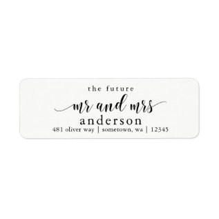 The Future Mr And Mrs Glyph Return Address Labels at Zazzle