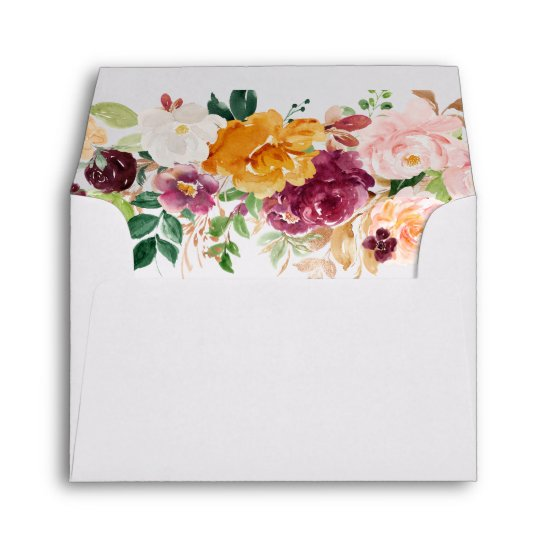 The Future Mr. and Mrs. Gold Text Floral RSVP Envelope