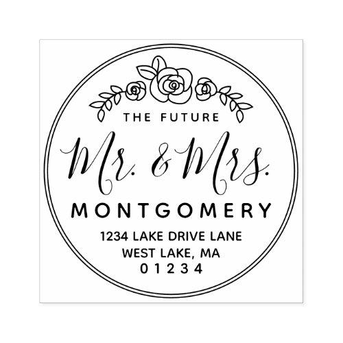 The Future Mr  Mrs Floral Rose Return Address Rubber Stamp