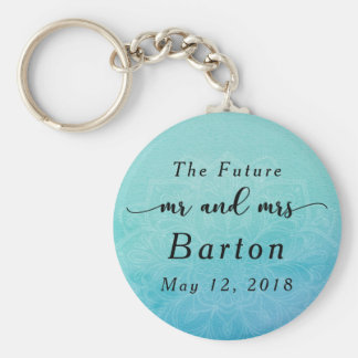 """The Future Mr. & Mrs"" Teal & Blue Mandala Keychain"