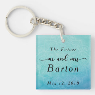 The Future Mr & Mrs Typography Teal & Blue Mandala Keychain