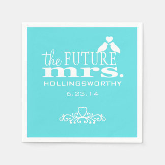 the future mrs aqua blue bridal shower napkin